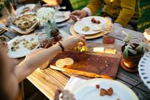 family eating dinner at a dinner table