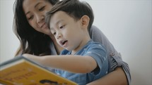 a mother reading a book to her son