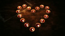 heart shape of candles