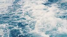 Ocean waves and wake.