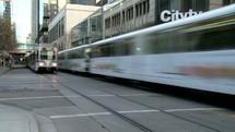passing commuter trains