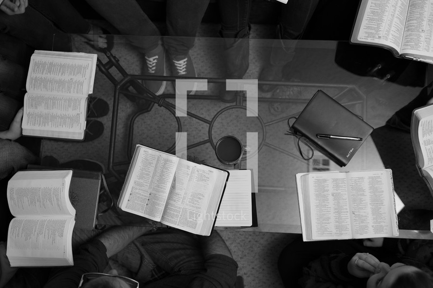 Open Bibles at a Bible study