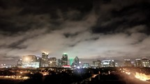 Timelapse of Dallas skyline at night.