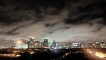 Timelapse of Dallas skyline at night.