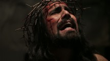 The suffering of Christ -- Jesus in agony in his crown of thorns.