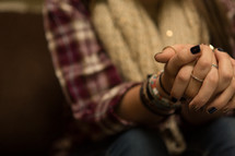 Girl's hands folded