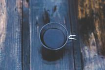 mug on a wood table