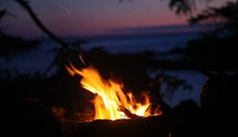 Campfire by the ocean.