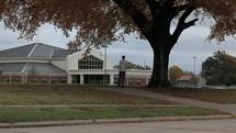 Man walking toward the church.