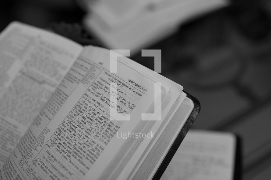 Open Bible in the book of Matthew