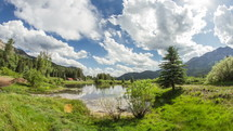 Timelapse of cloud movement over a lake in a valley between two mountain ranges.