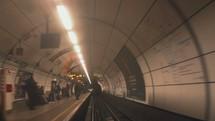 approaching subway train