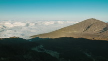 clouds moving over Haleakala crater