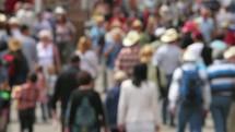 Crowd walking away.