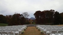 An outdoor wedding setup before the ceremony.