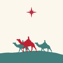 Three wisemen following the star of Bethlehem.