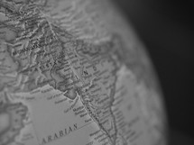 Afghanistan on a globe