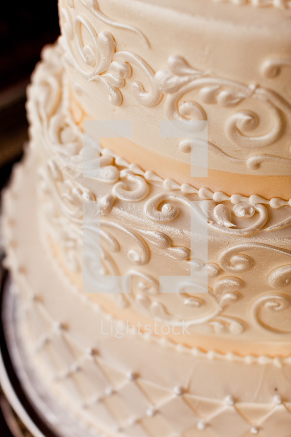 Closeup of wedding cake