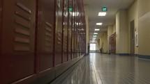 School hall with lockers.