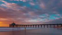 time-lapse of a pier