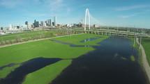 Margaret Hunt Hill Bridge, Bridge, Dallas, over, aerial view, over