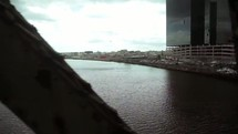 car going across a bridge