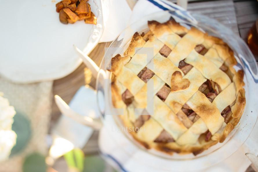 pie on a dinner table