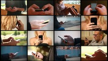 collage of people,  in different locations, working on their iPhones composition