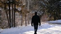walking a path through snow