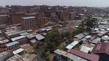 aerial view over rooftops