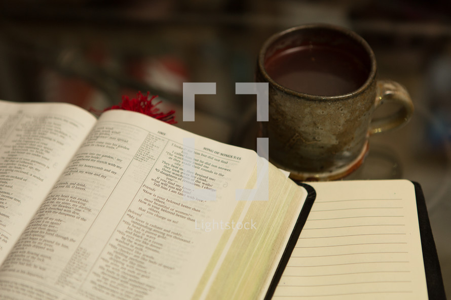 coffee mug, Bible, and journal