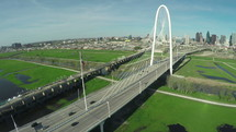 aerial view over the Margaret Hunt Hill Bridge in Dallas