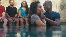 a woman being baptized