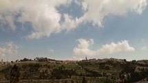 A time-lapse of the Mount of Olives from the rampart of the Old City in Jerusalem.
