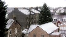 Snowfall on a village.