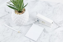 houseplant, scissors, pencil, and notepad on marble
