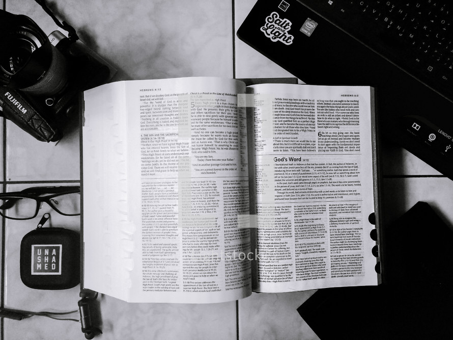open Bible on a desk
