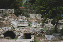 caves and stone walls in Corinth, Greece