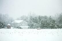 snow and a barn