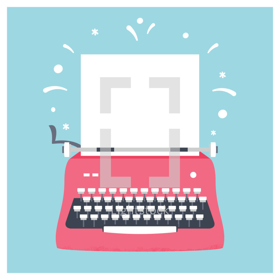 Retro Styled Red Typewriter with Blank Sheet of Paper