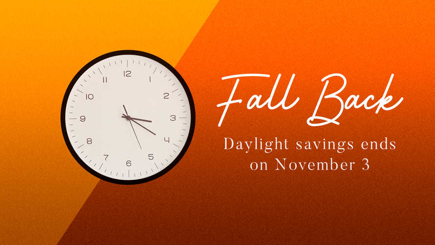 Fall Back. Daylight Savings Announcement Slide.