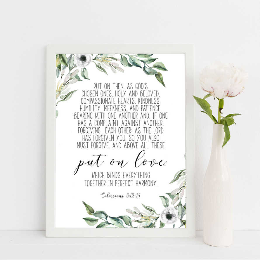 Put On Love, Colossians 3:12-14, Olive Wreath, Scripture Prints, Botanical Print