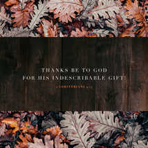 Thanks be to God for his indescribable gift! – 2 Corinthians 9:15