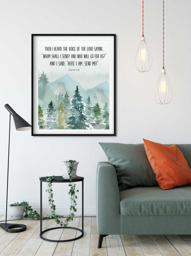 Bible Verse Prints, Isaiah 6 8, Christian Wall art, Here am I Send me