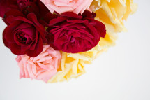 vase of colorful roses