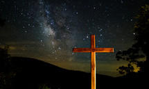 cross against the night sky