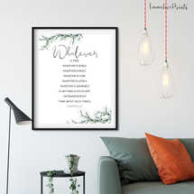 Philippians 4:8, Botanical poster printable, Easter Wall Art, Botanical Print, Scripture Prints