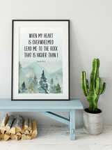 Bible Verse Prints, Psalm 61 2, Wall Art Print, When my heart is overwhelmed