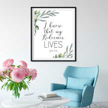 I know that my Redeemer Lives, Job 19 2, Easter Wall Art, Bible Verse Prints, Olive Wreath, Scripture Prints,