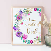 I Am A Child Of God, Purple Floral Wreath, Nursery Wall Decor, Bible Verse, Wall Art Print